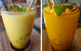 Passion fruit shake and mango smoothie Reform Cafe Chiang Mai