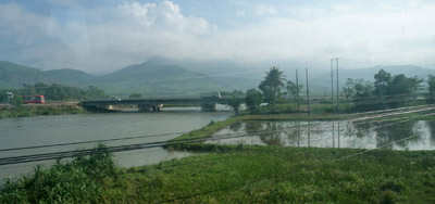 View from train on journey Hoi an to Hue